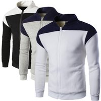 Wholesale British Overcoat - British Autumn Cardigan Overcoat Sweatshirts For Mens Stand Collar Loose Mens Sweatshirts Long Sleeve Solid Men Hoodies J160816
