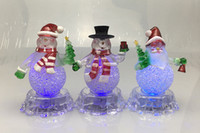 Wholesale Christmas Gift Snowman Colorful Night - Christmas Snowman Colorful Night light LED Flash Small Ornaments Acrylic LED Small Coloured Lights Festival Gift