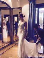 Wholesale Design Back Wedding Dress - New Design Sheath Lace Wedding Dresses 2016 Appliques See Through zipper Back Sheer Bridal Gowns Court train Arabic Vestidos De Noiva Z29