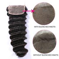 Wholesale Handtied Brazilian Hair - Deep Wave Brazilian Hair 4x4 Lace Closure 8A 100% Virgin Remy Human Hair Lace Closure Handtied Top Closure Dyeable Best Selling