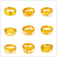 Wholesale 24k Gold Wedding Rings Wholesale - Dragon Bow Lotus leaf yellow gold ring 9 pieces a lot mixed style GTKR1 ,Hot sale fashion open size women's 24k gold ring