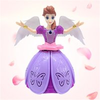 Wholesale hot new selling toy - Hot Sell New 360-degree electric dance princess light music rotating angel children's toy best present of Christmas