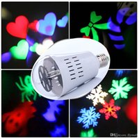 ingrosso farfalla lampadina-RGB Butterfly LED Laser Stage Light Proiettore E27 Rotante Snowflake Bulb Lampada Crystal Ball Stage Light Halloween Natale Laser Light