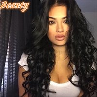 Wholesale Thick Black Wig - 180 Density Thick Look Front Lace Wigs Loose Wave Human Hair Wigs For Black Women 8A Brazilian Glueless Full Lace Wigs
