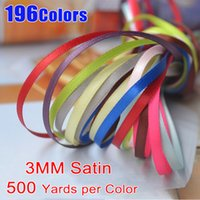 "Wholesale Craft Ribbons 3mm - 500 Yards 1 8"" 3MM Double Face Satin Ribbons 196 Colors AVAILABLE Superior Quality For DIY Craft Zakka Hair Sewing Packaging Wedding Party"