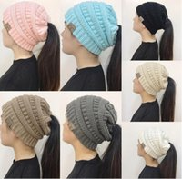 Wholesale Newest Winter Woolen - 2017 Newest Women CC Beanies Winter Woolen Caps Girl Ponytail Hats Women Winter Warm Knitted Crochet Skull Beanie 9 Colors