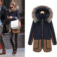 Wholesale 2017 Women s Outerwear Coats Loose coat Autumn and winter coat in the long thick cotton padded jacket cotton wool collar hooded zipper