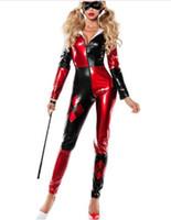 zentai personalizado al por mayor-harley quinn costume Shiny Metallic Zentai Mujer / Mujeres / Chicas / Chicas supervillano de Clown costume sexy catsuit custom