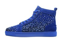 Strass MenWomen Schwarz blau wildleder Freizeitschuhe Rot Bottom Multi Farbe high top Diamanten Luxus Marke Wohnungen Sneaker Fashion Design schuhe