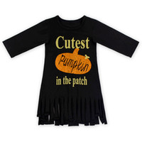 Wholesale Girls Patching Dress - Rustic Three Quarter Cotton Baby Dress Halloween Pumpkin In Patch Printed Girls Dress Outfit Festival Tassel Toddler Outfit