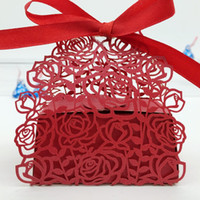 Wholesale Wedding Candy Roses - 100pcs Laser Cut Hollow Rose Flower Candy Box Chocolates Boxes With Ribbon For Wedding Party Baby Shower Favor Gift