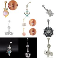 Gros-2016 Fashion Body Piercing Jewelry Cubic Cristal Or Argent Owl Elephant Papillon Coeur Couronne Belly Button Ring pour les femmes