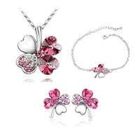 Wholesale Clover Leaf Necklace Jewelry - Four Leaf Clover Bracelet Earrings Necklace Austria Zircon Crystal Necklace+Earrings+Bracelet Love Heart Jewelry Sets Diamond Women Jewellry