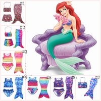 Wholesale Rainbow Tail Cosplay - Girls Rainbow Mermaid Tail Bikini Swimsuits Bathing Suits Kids Costume Cosplay Suits Swimmable Swimwear Beach Wear 7 styles OOA305