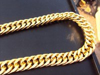 Wholesale Thick Necklace Sale - Hot sale MENS 24K SOLID GOLD FILLED FINISH THICK MIAMI CUBAN LINK NECKLACE CHAIN 10mm*50cm