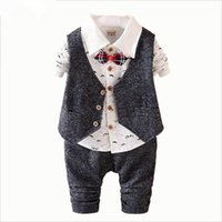 Wholesale Toddler Wedding Vest - 2016 New Spring 3PCS Kids Clothes Boys Baby Clothing Sets Vest Shirt Pants Toddler Boys Clothes Set Wedding Outfits Birthday