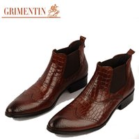 Wholesale Mens High Black Boots Fashion - GRIMENTIN Hot sale brand high quality mens ankle boots genuine leather brown black fashion wedding men shoes 2017 size:38-44 2zb107