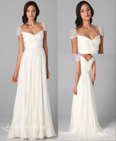 vestidos de cierre de cremallera al por mayor-Elegantes vestidos de novia blancos Hermosas mangas casquillo Gasa Cierre de cremallera largo Mujeres Vestidos de fiesta nupciales
