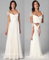 elbiseler fermuarlı kapatma toptan satış-Zarif Beyaz Gelinlik Güzel Cap Kollu Şifon Uzun Fermuar Kapatma Kadınlar Gelin Parti Törenlerinde