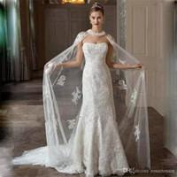 Wholesale Tulle Bridal Jacket Cape - 2018 New White Ivory Long Wedding Capes Cloaks Tulle Appliques Lace Custom Bridal Boleros Jackets Wraps