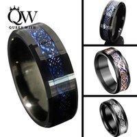 black rose dragon - Queenwish mm Black Blue Tungsten Carbide Rings Sliver Black K Rose Gold Celtic Dragon Mens Wedding Band Statement Jewelry