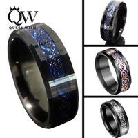 mavi gül düğün yüzüğü toptan satış-Queenwish 8mm Siyah Mavi Tungsten Karbür Yüzük Şerit / Siyah / 18 K Rose Gold Celtic Ejderha Erkek Düğün Band Bildirimi Takı