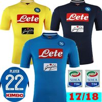Wholesale Italia Football - Thai 2017 2018 Napoli Home Blue INSIGNE HAMSIK Soccer Jerseys 17 18 Naples Away Black Yellow camisetas MERTENS Italia Calcio Football Shirts