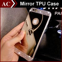 Luxury Electroplate + Crystal Diamond Bling Mirror Case Glitter TPU Cover per iPhone 6 6S Plus 5S 5SE antipolvere Antiurto Protettivo
