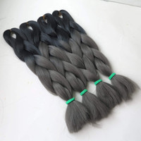 Wholesale grey kanekalon braiding hair for sale - Group buy quot g Ombre Two Tone Kanekalon Jumbo Box Braiding Synthetic Dreadlocks Hair Ombre Black Dark Grey Color Jumbo Braiding Hair