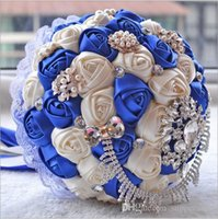 2016 Luxo Rose Artificial Bridal Flores Crystal Bouquet Noiva Bouquet Rhinestone Cristal Rose Royal Blue Silk Rose Flower