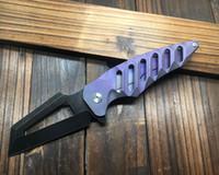 Wholesale fast bearings - CNC Gradual Purple Titanium Handle S35VN Blade Ball bearing Camping Fast Open Big Folding Knife EDC CMB95