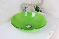 Wholesale Bathroom Tempered Glass Vessel - Emerald green wash basin sink basin bathroom basin Tempered Glass Vessel Sink With Faucet Set N-493