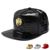Wholesale Lion Head Hat - New style Golden PU Leather Lion head Crown baseball caps Diamond Crocodile Grain snapback DJ Sports hip hop hats men women casquette