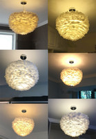 Wholesale White Feather Pendant Light - Nordic Lantern Nest Feather Ceiling Chandelier Pendant Lamp DropLight Cafe Store