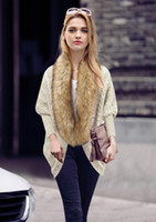 Wholesale Loose Knit Crochet Poncho - New Fashion Fur Trim Sweater for Women Clothes Winter Loose Sweater Cardigan Europe High-end Lady Bat Sleeve Knit Coat Cape Poncho