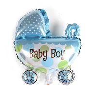 carrinhos de bebê de casamento venda por atacado-Atacado-bonito Mini bebê Stroller Foil Balloons festa de casamento Brithday balões de festa decoração balão de hélio 30x30cm