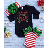 Wholesale Sequins Leggings - 2016 christmas outfits kid girl autumn fall clothes baby sequin bows headbands + long sleeve black rompers + striped leggings boutique sets