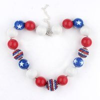 Wholesale Wholesale Bubble Gum Necklaces - 2016 girls USA flag print necklace Kids Halloween Christmas gift Bubble gum necklace American flag wind beaded jewelry