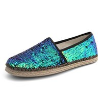 Wholesale Daily Driven - Personality Hemp rope sequined shoes shiny glitter women sexy shoes daily driving loafers female Moccasins size 36-40