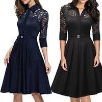 Wholesale Dresses Xx - The 2016 Spring Or Summer Fashion Women Dress Turtle Neck 3 4 Sleeve Women Lace Work Dress Size XX.