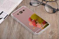 samsung grand prime gold al por mayor-Para Samsung Galaxy S8 PLUS S7 EDGE S4 S5 NOTA 5 3 Grand Prime G530 A8 Bling Espejo Revestimiento suave TPU PC teléfono Funda de piel cubierta de oro rosa 20pcs