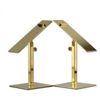 Wholesale golden color shoes resale online - Golden color metal stainless steel adjustable height heels holder rack shoes display shelf stand