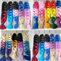 Wholesale straight crochet braiding hair resale online - Xpression braiding hair synthetic Ombre hair g Folded inch Three tone color Kanekalon jumbo Crochet braids twist hair extensions
