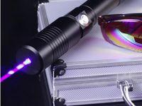 Wholesale Led Strong Light Flashlight - Strong power military blue laser pointers 450nm LED LAZER Beam Flashlight Lights hunting teaching+glasses+changer+gift box Free Shipping