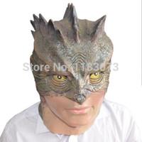 Wholesale Lizard Halloween Costume - 10pcs lot Lizard-Man latex Realistic Mask Horror Animal Eco-friendly Material Adult Lizard Masks Halloween Carnival Costume Free Shipping