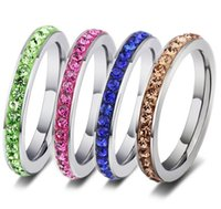 Wholesale Wear Ring - New 20pcs fashion ladies full circle 1 row rhinestone stainless steel polished wear comfortable Jewelry band Rings wholesale lots