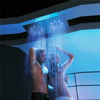 ducha de agua de lluvia al por mayor-Doble lluvia LED cabezales de ducha de lluvia 304 de acero inoxidable 400 * 800 mm Cabeza de ducha lluvia Duchas de baño luces de alimentación de agua