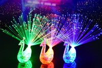 Wholesale Fiber Optic Peacock - 2017 new style 3 col LED Flashing Peacock Fiber Optic Finger Lights Rings for Raves or Party Favor