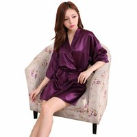 Wholesale Bath Clothes Sexy - Wholesale-Sexy Women Silk Satin Short Robe Sets High Quality Bath Robe Half Sleeve Solid Dressing Gown Home Clothing Party