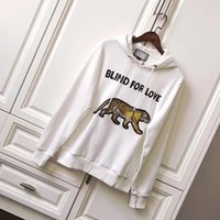 Wholesale Cool Hooded Sweatshirts - Europe America Fashion Italy Bengal Tiger Casual Cool blind for love Slogan Hoodie men women Luxury Hooded Sweatshirt Tops